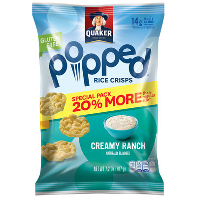 Quaker® Popped® Creamy Ranch Rice Crisps 7.2 oz. Bag