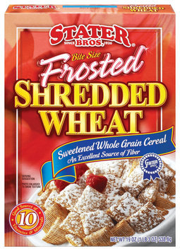 Stater Bros. Bite Size - Sweetened Whole Grain Cereal Frosted Shredded Wheat 15.25 Oz Box