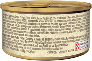 Muse by Purina MasterPieces Natural Quail Recipe accented with Carrots and Spinach Cat Food 3 oz. Can