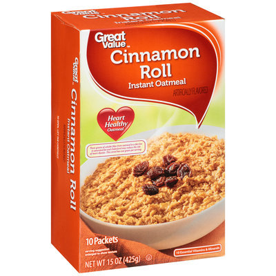 Great Value™ Cinnamon Roll Instant Oatmeal 10 ct Box