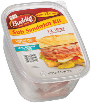 Buddig™ Original Sub Sandwich Kit Smoked Turkey/Oven Roasted Turkey 72 Slices 24 oz Plastic Container