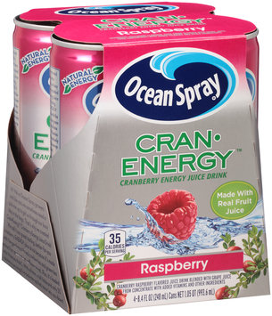 Ocean Spray® Cran•Energy™ Raspberry Energy Juice Drink 4-8.4 fl. oz. Cans