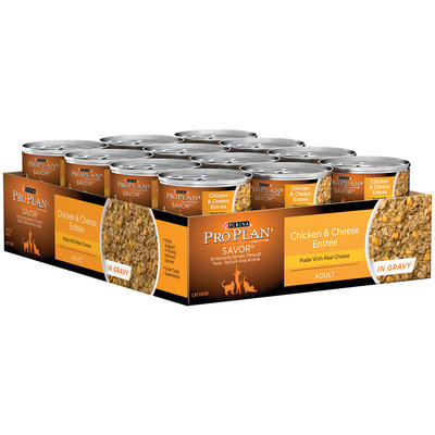 Purina Pro Plan Savor Adult Chicken & Cheese Entree in Gravy Cat Food 24-3 oz. Cans