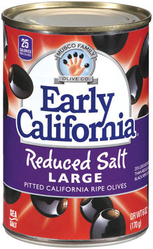 EARLY CALIFORNIA Reduced Salt Large Pitted California Ripe Olives 6 OZ CAN