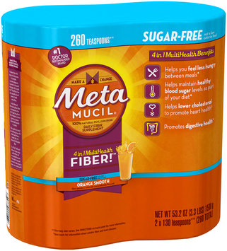 Smooth Metamucil Orange Smooth Sugar Free Powder Twin Pack 2x130 dose (53.2 ounces 260 doses Total)