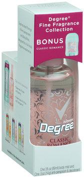 Degree Body Mist Fine Fragrance Collection Classic Romance & Bonus Deodorant Degree Women 3 Fl Oz Box