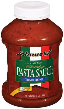 Schnucks Traditional Chunky Pasta Sauce 48 Oz Plastic Container