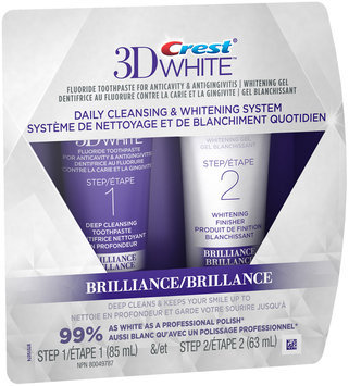 3D White Crest 3D White Brilliance Daily Cleansing Toothpaste and Whitening Gel System 1 Tube 85 mL and 1 Tube 63 mL, NPN80049787
