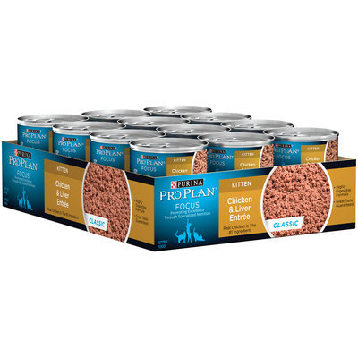 Purina Pro Plan Focus Kitten Chicken & Liver Entree Classic Cat Food 24-3 oz. Pull-Top Cans