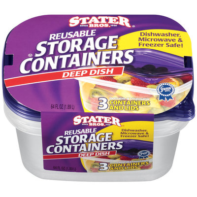 Stater Bros.® Reusable Storage Containers Deep Dish 3 ct.