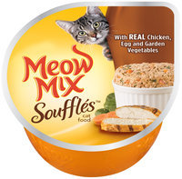 Meow Mix Souffles with Real Chicken, Egg and Garden Vegetables Wet Cat Food, 2.75-Ounce Cup