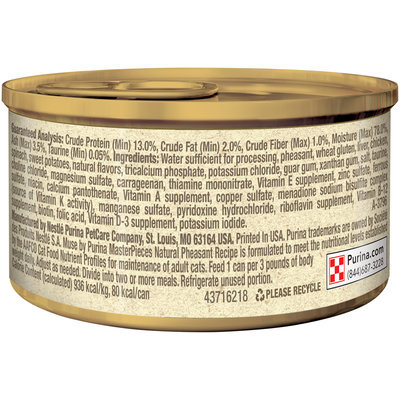 Muse by Purina MasterPieces Natural Pheasant Recipe accented with Sweet Potato & Spinach Cat Food 3 oz. Can