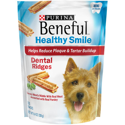 Purina Beneful Healthy Smile Ridges Mini Dental Dog Snacks 24 ct Pouch
