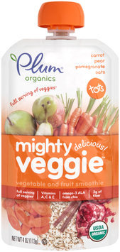 Plum® Organics Tots Mighty Veggie™ Carrot Pear Pomegranate & Oats Vegetable & Fruit Smoothie 4 oz. Pouch