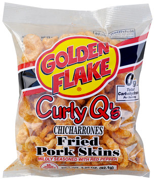Golden Flake® Curly Q's™ Chicharrones Mildly Seasoned with Red Pepper Fried Pork Skins 3.25 oz. Bag