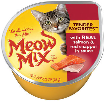 Meow Mix Tender Favorites with Real Salmon & Red Snapper in Sauce Wet Cat Food, 2.75-Ounce Cup