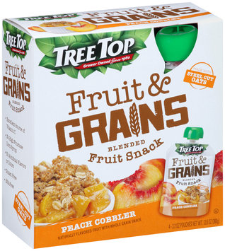 Tree Top® Fruit & Grains Peach Cobbler Blended Fruit Snack 4-3.2 oz. Pouches