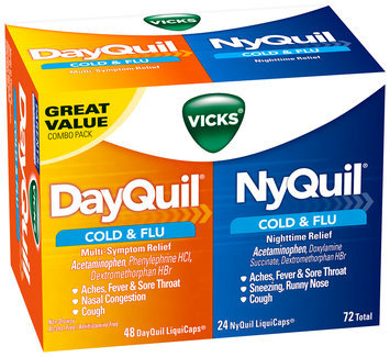 Vicks® DayQuil® Multi-Symptom/NyQuil® Nighttime Cold & Flu Relief LiquiCaps® Combo Pack 72 ct Box