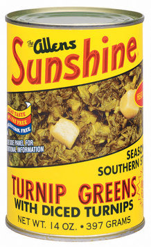 The Allens Sunshine Seasoned Southern Style W/Diced Turnips Turnip Greens 14 Oz Can