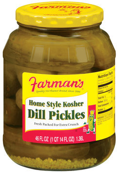 Farman's Home Style Kosher Dill Pickles 46 Oz Jar