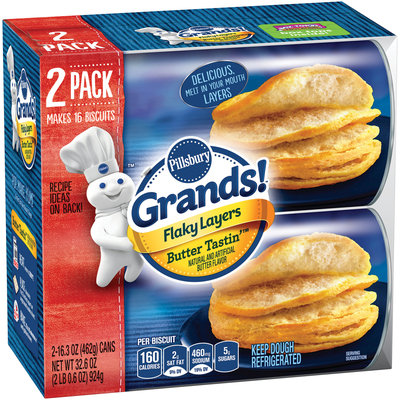 Pillsbury Grands!® Flaky Layers Butter Tastin'™ Biscuits 2-16.3 oz. Can