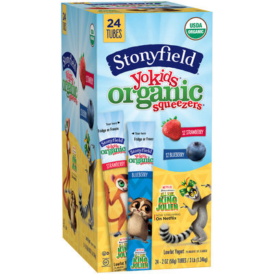 Stonyfield Yokids® Strawberry & Blueberry Organic Squeezers® Lowfat Yogurt 24-2 oz. Tubes