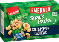 Emerald® Salt & Pepper Cashews Snack Packs 5-1.25 oz. Tubes
