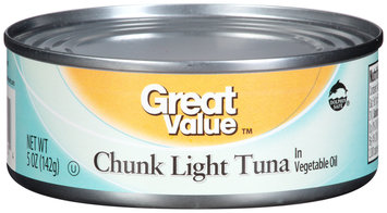 Great Value™ Chunk Light Tuna in Vegetable Oil 5 oz. Can