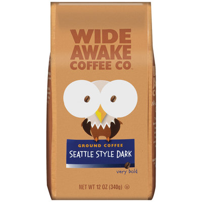 Wide Awake Coffee Company Seattle Style Dark Very Bold Ground Coffee 12 Oz Stand Up Bag
