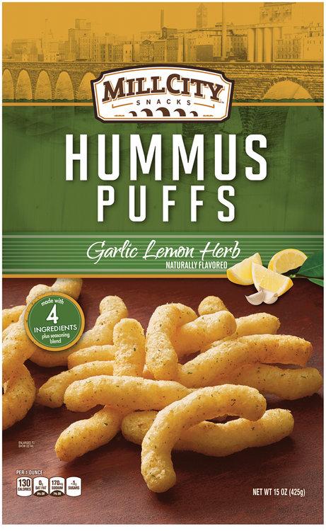 mill city snacks garlic lemon herb hummus puffs