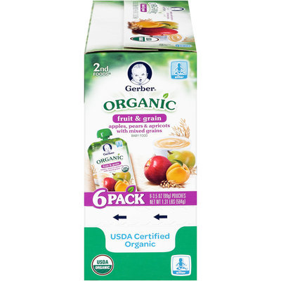 Gerber® 2nd Foods® Organic Fruit & Grain Apples, Pears & Apricots with Mixed Grains Baby Food 6-3.5 oz. Pouches