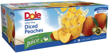 Dole Peaches Yellow Cling Diced In Light Syrup 4 Oz Cups Fruit Cups 16 Ct Box