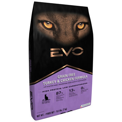 EVO Turkey & Chicken Formula Cat & Kitten Food 15.4 lb. Bag