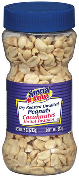 Special Value Dry Roasted Unsalted Peanuts 7.5 Oz Plastic Jar