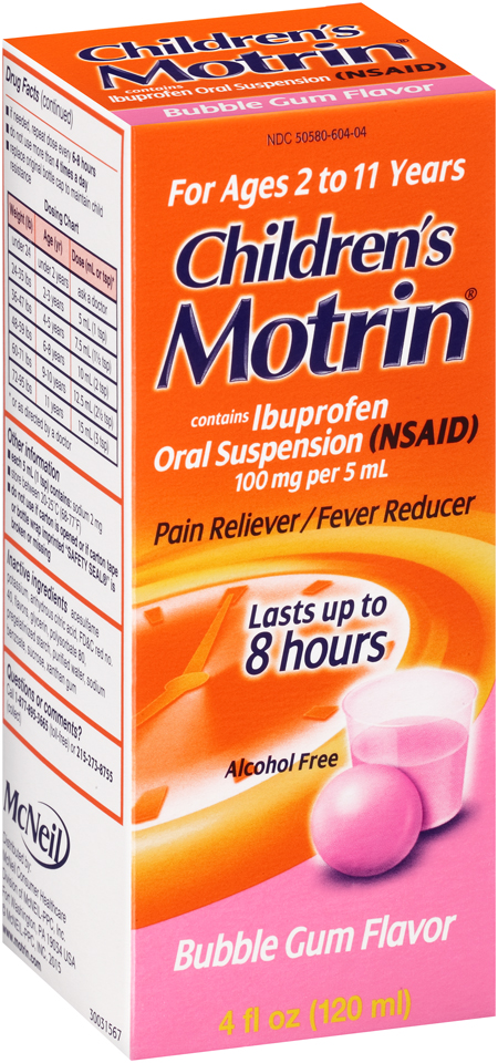 Children's Motrin® Bubble Gum Ibuprofen Pain Reliever/Fever Reducer Oral Suspension 4 fl. oz. Box