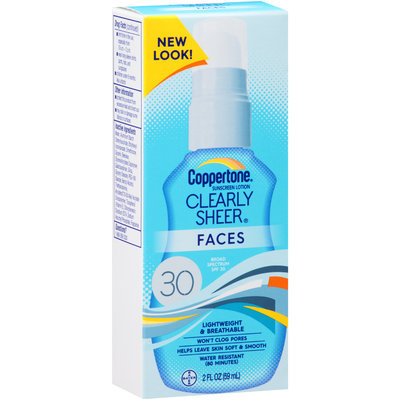 Coppertone® Clearly Sheer® Faces Broad Spectrum SPF 30 Sunscreen Lotion 2 fl. oz. Box