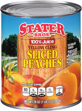 Stater bros® 100% Juice Yellow Cling Sliced Peaches