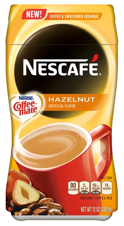 NESCAFE with COFFEE-MATE 2-in1 Coffee + Creamer Combo, Hazelnut 12 oz. Plastic Container