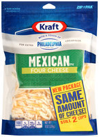 Kraft Shredded Mexican Style Four Cheese Blend with a Touch of Philadelphia 8 oz. ZIP-PAK®
