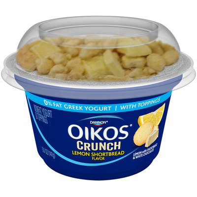 Dannon® Oikos® Crunch Lemon Shortbread Flavor Nonfat Yogurt with Toppings 5.0 oz. Cup
