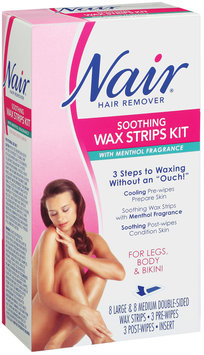 Nair Soothing Wax Strips Kit W/Menthol Fragrance Hair Remover 1 Ct Box