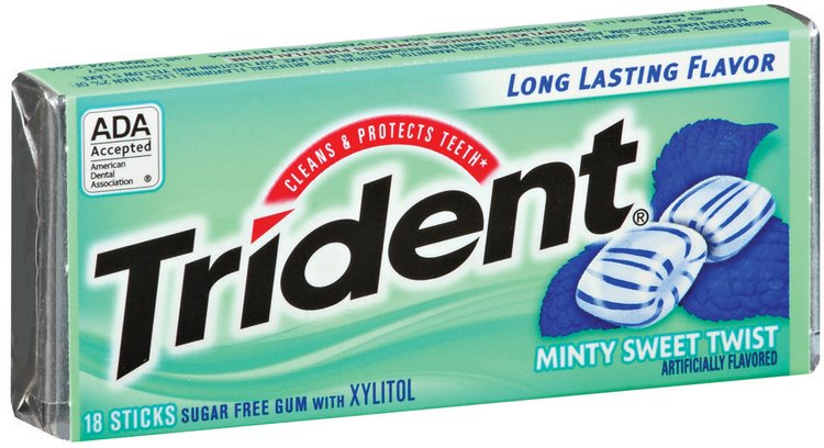 Trident Minty Sweet Twist Sugar Free Gum with Xylitol 18 Stick Pack