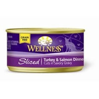 Wellness Sliced Canned Cuts Turkey Salmon Adult Canned Cat Food -Pack of 24