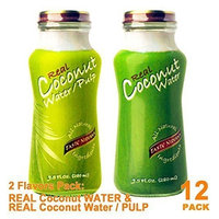 Taste Nirvana Variety Real Coconut WATER & Coconut WATER WITH PULP 9.5oz, PACK 12
