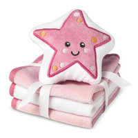 Circo Newborn Girls' 3 Pack Wascloth Set with Scrubbie - Pink