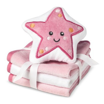 Circo Newborn Girls' 3 Pack Wascloth Set with Scrubbie - Pink