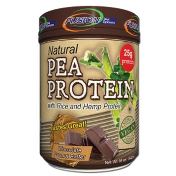 Fusion Diet Systems Natural Pea Protein with Rice and Hemp Protein, Chocolate Peanut Butter, 16 oz