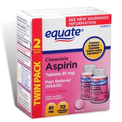 Equate - Aspirin 81 mg, Low Dose, Cherry Flavor, 72 Chewable Tablets (Compare to Bayer Children's)