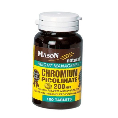 3 Pack Special of MASON NATURAL CHROMIUM PICOLINATE 200MCG TABLETS 100 per bottle