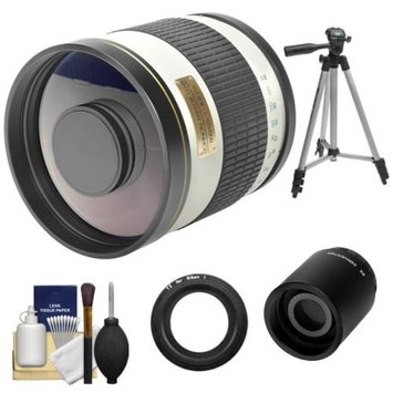 Samyang 500mm f/6.3 Mirror Lens (White) (T Mount) with 2x Teleconverter (=1000mm) + Tripod + Accessory Kit for Nikon 1 J1, J2 & V1 Digital Cameras